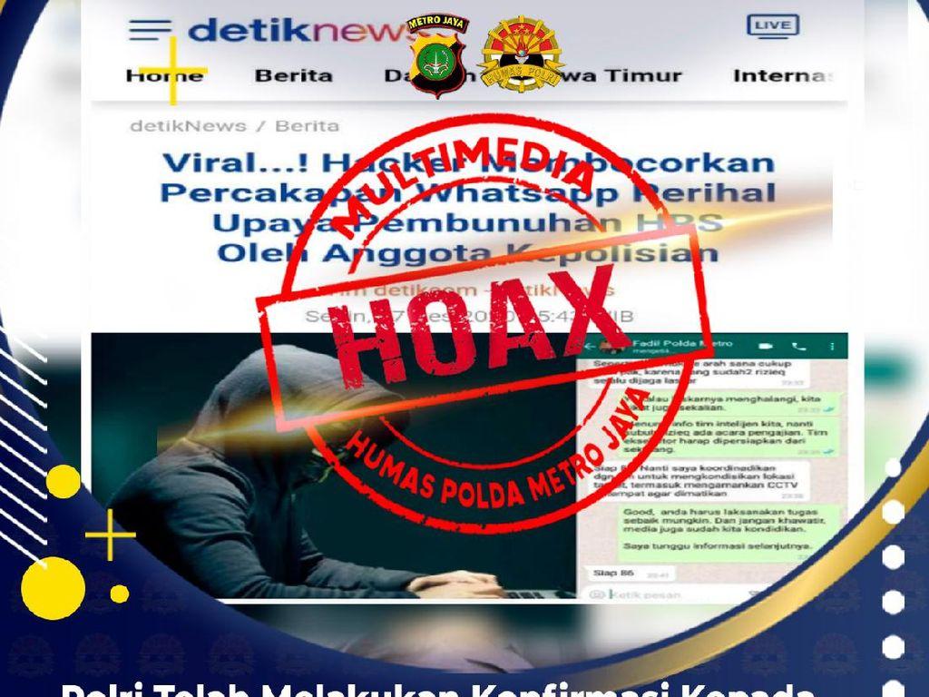 Polisi Buru Penyebar Hoax Chat Kapolda Metro soal Sikat Laskar HRS