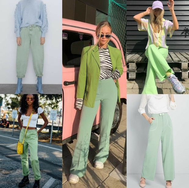 mix and match outfit warna hijau mint