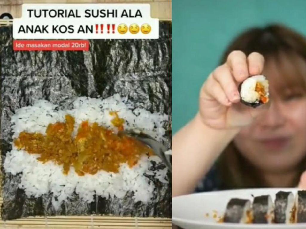 Cara Bikin Sushi Hemat ala Anak Kos, Isinya Telur Geprek!