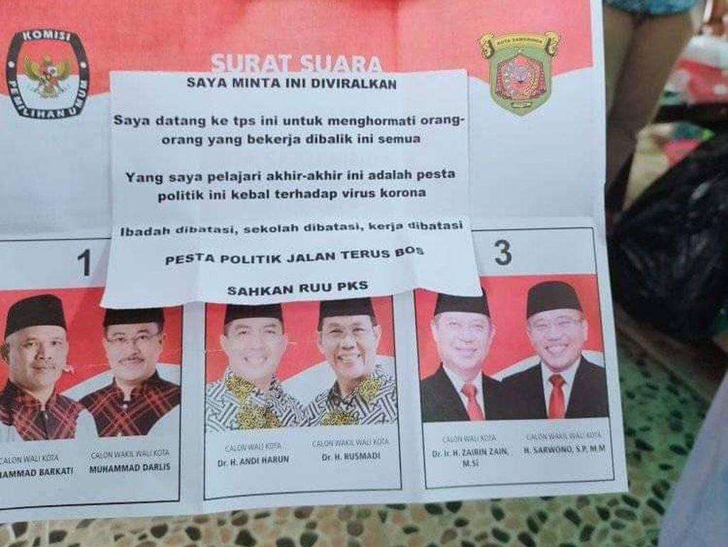 Viral Surat Suara Pesta Politik Kebal Corona, Ini Kata KPU Samarinda