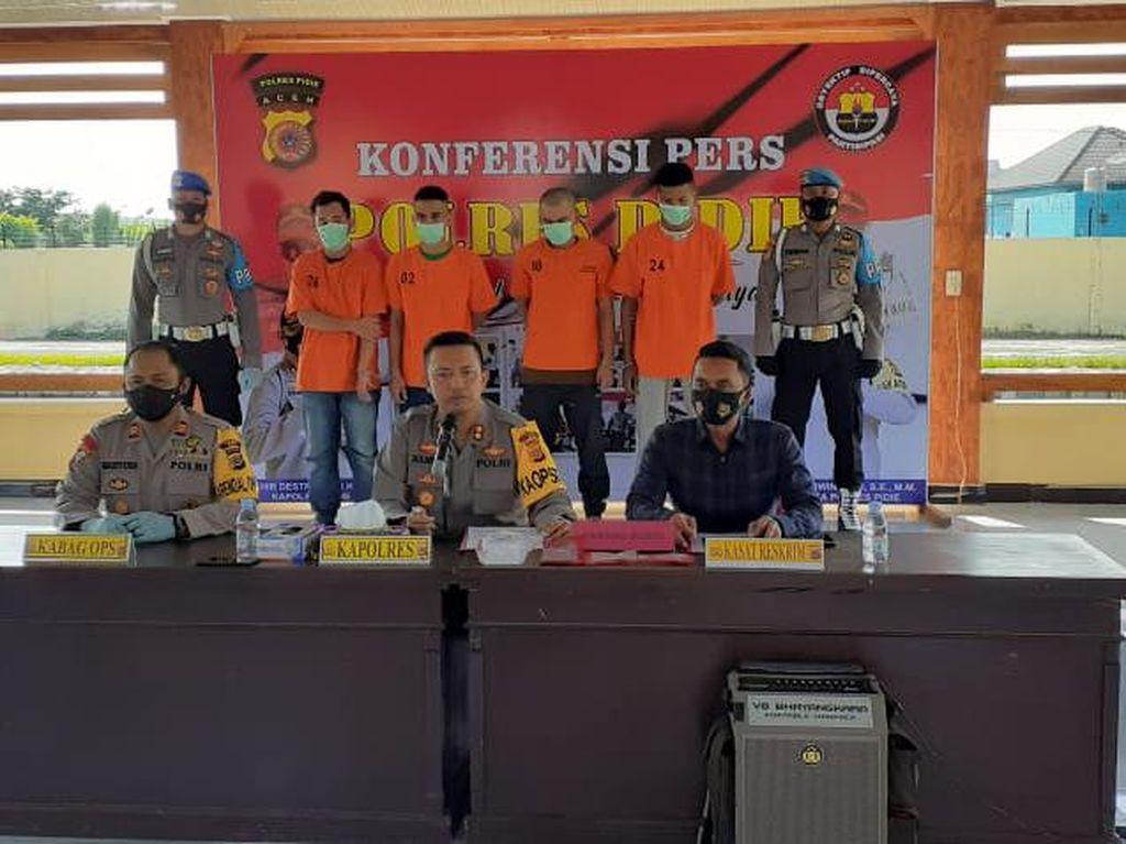 Begal Motor Buat Judi Online-Narkoba, 4 Pemuda di Aceh Ditangkap