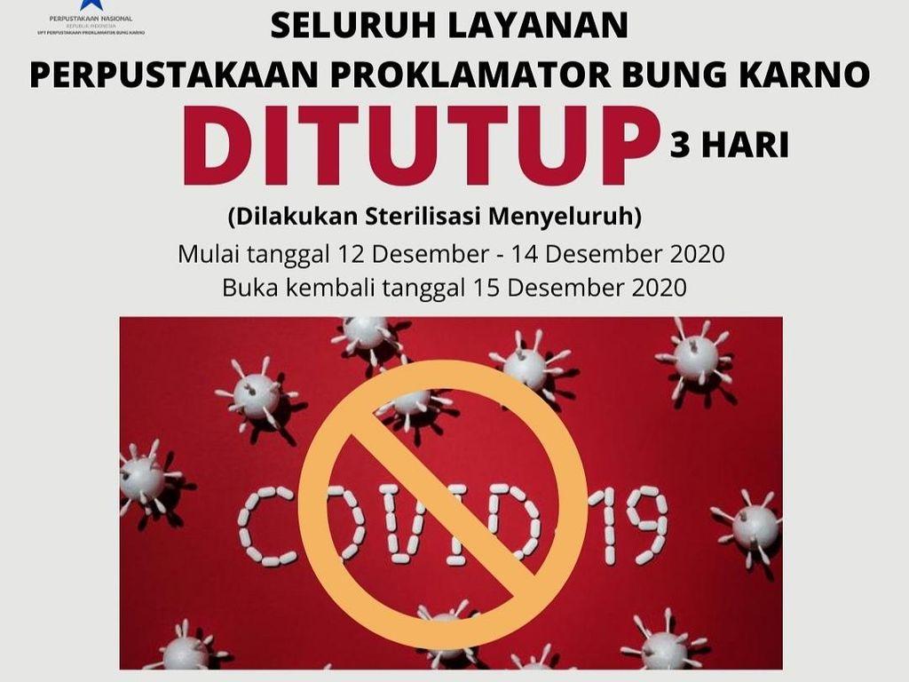 7 Petugas Positif COVID-19, Perpustakaan Bung Karno Ditutup 3 Hari