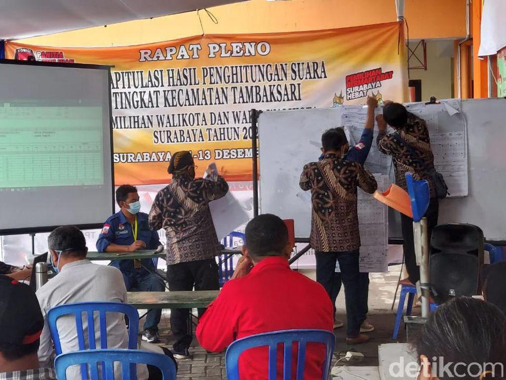 Begini Rekapitulasi Suara Pilkada Surabaya di Kecamatan dengan TPS Terbanyak