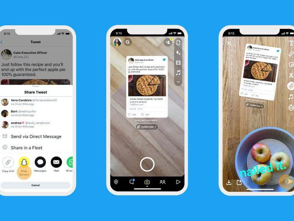 Cuitan Twitter Bisa Dibagikan di Snapchat dan Instagram