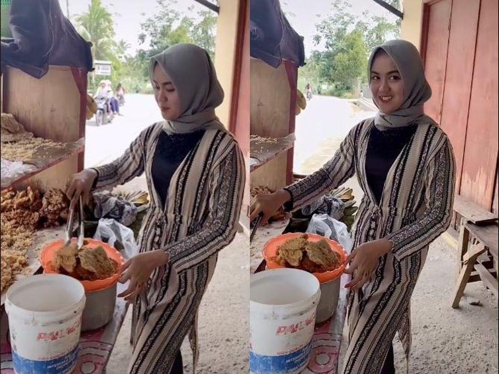Murah Senyum, Penjual Gorengan Cantik Ini Bikin Pangling Netizen