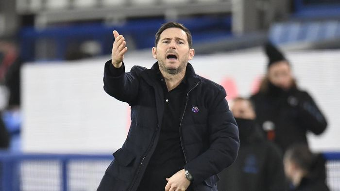 Chelseas head coach Frank Lampard reacts during the English Premier League soccer match between Everton and Chelsea at Goodison Park in Liverpool, England, Saturday, Dec. 12, 2020. (Peter Powell/Pool via AP)