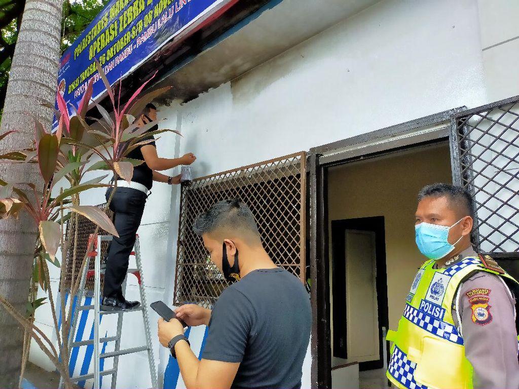 Pos Polisi Fly Over Makassar Terbakar, Polisi Olah TKP