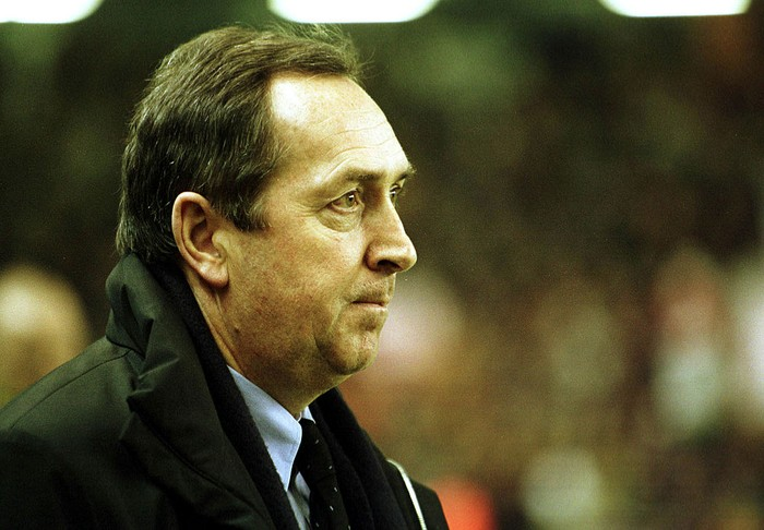 22 Feb 2001:  Manager Gerard Houllier of Liverpool looks on during the Liverpool v Roma UEFA Cup Fourth round, second leg match at Anfield, Liverpool. Mandatory Credit: Gary M. Prior/ALLSPORT