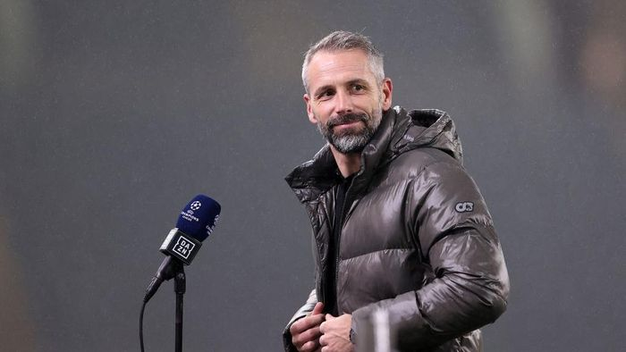 MOENCHENGLADBACH, GERMANY - DECEMBER 01: Marco Rose, Head Coach of Borussia Moenchengladbach is interviewed prior to the UEFA Champions League Group B stage match between Borussia Moenchengladbach and FC Internazionale at Borussia-Park on December 01, 2020 in Moenchengladbach, Germany. Sporting stadiums around Germany remain under strict restrictions due to the Coronavirus Pandemic as Government social distancing laws prohibit fans inside venues resulting in games being played behind closed doors. (Photo by Lars Baron/Getty Images)