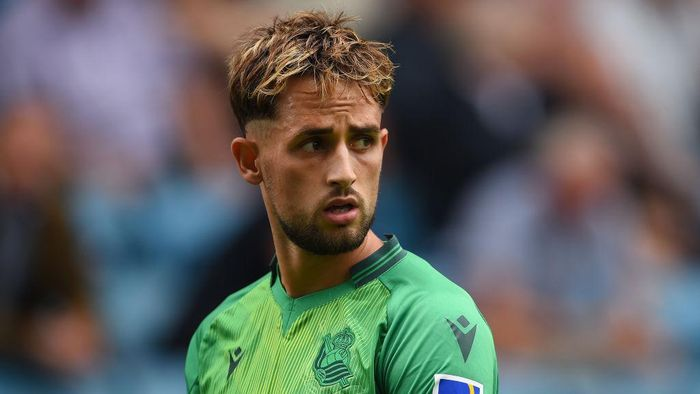 LONDON, ENGLAND - JULY 27: Adnan Januzaj of Real Sociedad looks on during the Pre-Season Friendly between Millwall and Real Sociedad at The Den on July 27, 2019 in London, England. (Photo by Harriet Lander/Getty Images)