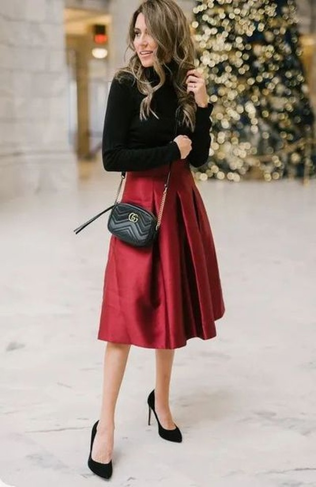 Black Long Sleeve and Midi Red Skirt