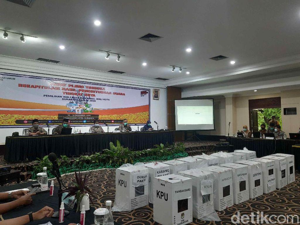 Rapat Pleno Rekapitulasi Pilwali Surabaya Diwarnai Skorsing