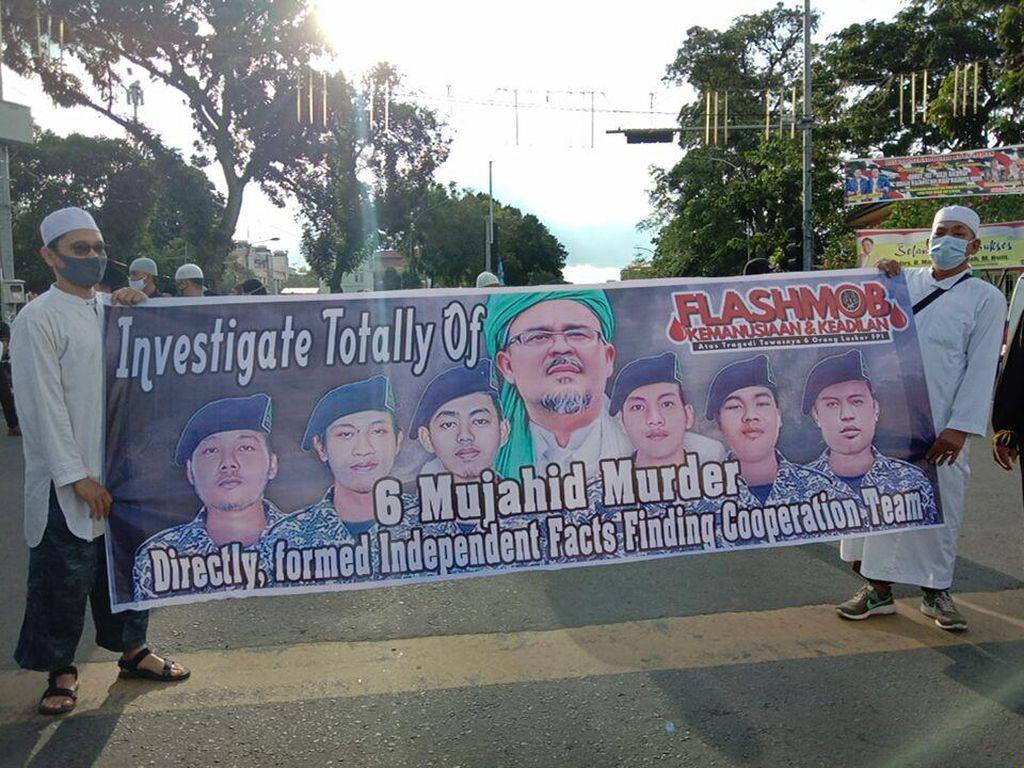 Massa di Medan Demo Tuntut Komnas HAM Usut Tuntas Tewasnya 6 Laskar FPI