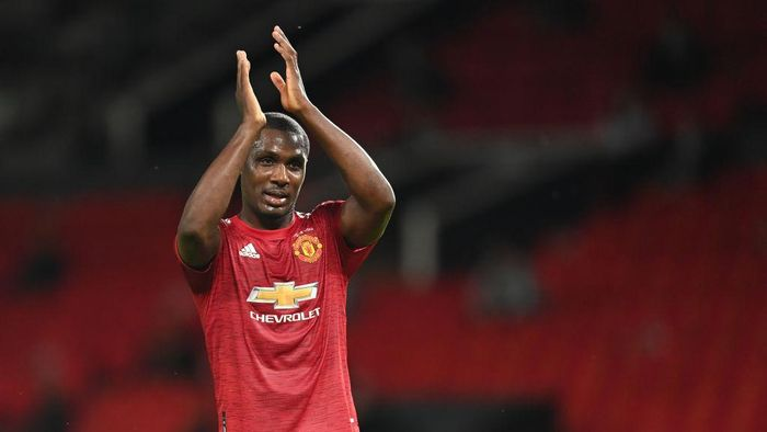 MANCHESTER, ENGLAND - AUGUST 05: Odion Ighalo of Manchester United in action during the UEFA Europa League round of 16 second leg match between Manchester United and LASK at Old Trafford on August 05, 2020 in Manchester, England. (Photo by Michael Regan/Getty Images)