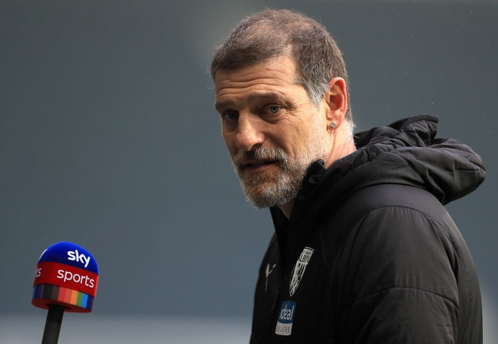 WEST BROMWICH, ENGLAND - DECEMBER 06: Slaven Bilic, Manager of West Bromwich Albion is interviewed after the Premier League match between West Bromwich Albion and Crystal Palace at The Hawthorns on December 06, 2020 in West Bromwich, England. The match will be played without fans, behind closed doors as a Covid-19 precaution. (Photo by Mike Egerton - Pool/Getty Images)