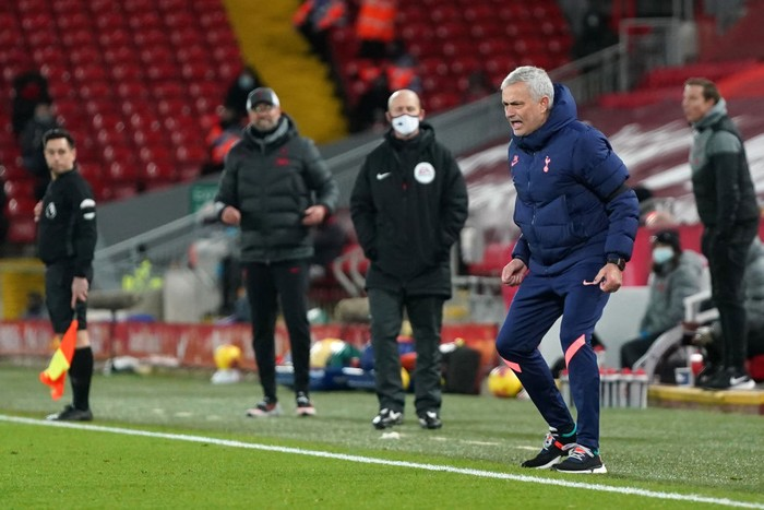 LIVERPOOL, ENGLAND - DECEMBER 16: Jose Mourinho, Manager of Tottenham Hotspur reacts during the Premier League match between Liverpool and Tottenham Hotspur at Anfield on December 16, 2020 in Liverpool, England. A limited number of fans (2000) are welcomed back to stadiums to watch elite football across England. This was following easing of restrictions on spectators in tiers one and two areas only. (Photo by Jon Super - Pool/Getty Images)