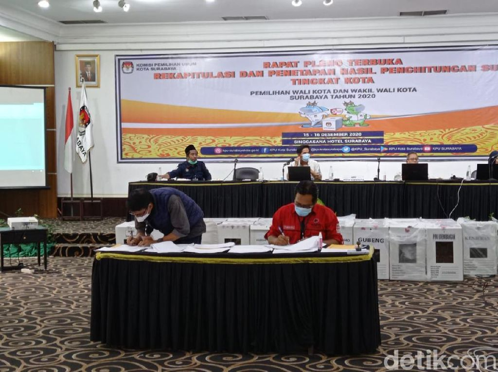 Rekapitulasi Menangkan Eri-Armuji, Saksi MA-Mujiaman Ajukan Keberatan