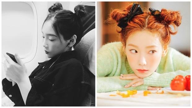 style rambut space buns Taeyeon SNSD