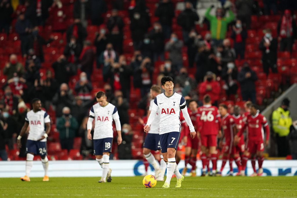 LIVERPOOL, ENGLAND - DECEMBER 16: Son Heung-Min of Tottenham Hotspur looks dejected after conceding their first goal during the Premier League match between Liverpool and Tottenham Hotspur at Anfield on December 16, 2020 in Liverpool, England. A limited number of fans (2000) are welcomed back to stadiums to watch elite football across England. This was following easing of restrictions on spectators in tiers one and two areas only. (Photo by Jon Super - Pool/Getty Images)