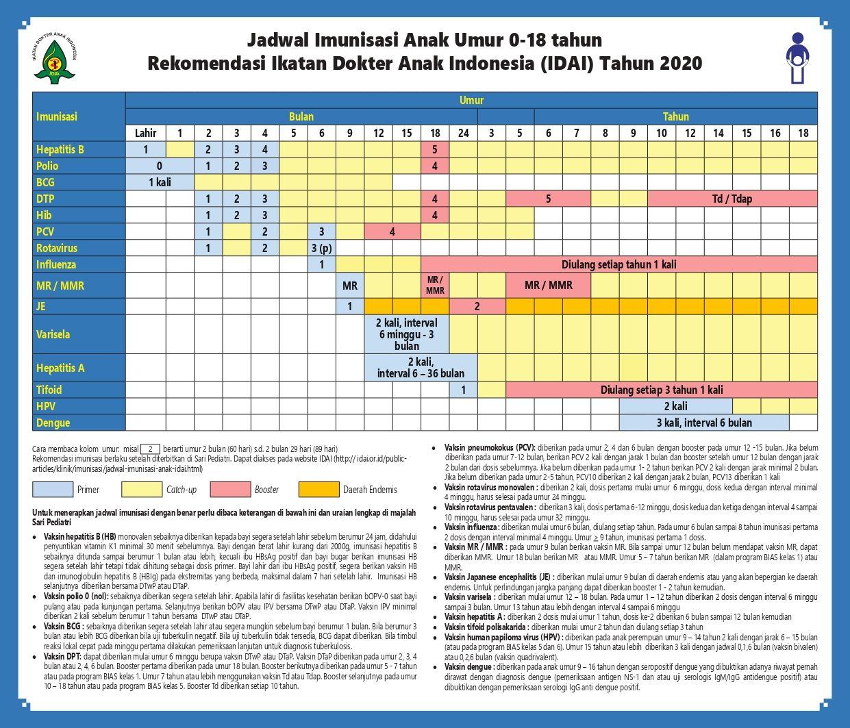 Jadwal Imunisasi IDAI 2020