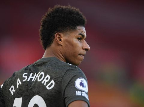 SOUTHAMPTON, ENGLAND - NOVEMBER 29: Marcus Rashford of Manchester United looks on during the Premier League match between Southampton and Manchester United at St Mary's Stadium on November 29, 2020 in Southampton, England. Sporting stadiums around the UK remain under strict restrictions due to the Coronavirus Pandemic as Government social distancing laws prohibit fans inside venues resulting in games being played behind closed doors. (Photo by Mike Hewitt/Getty Images)