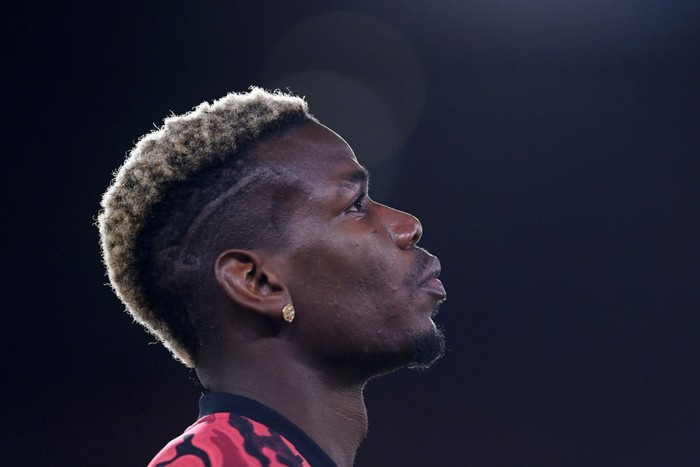 SHEFFIELD, ENGLAND - DECEMBER 17: Paul Pogba of Manchester United looks on ahead of the Premier League match between Sheffield United and Manchester United at Bramall Lane on December 17, 2020 in Sheffield, England. The match will be played without fans, behind closed doors as a Covid-19 precaution.  (Photo by Laurence Griffiths/Getty Images)