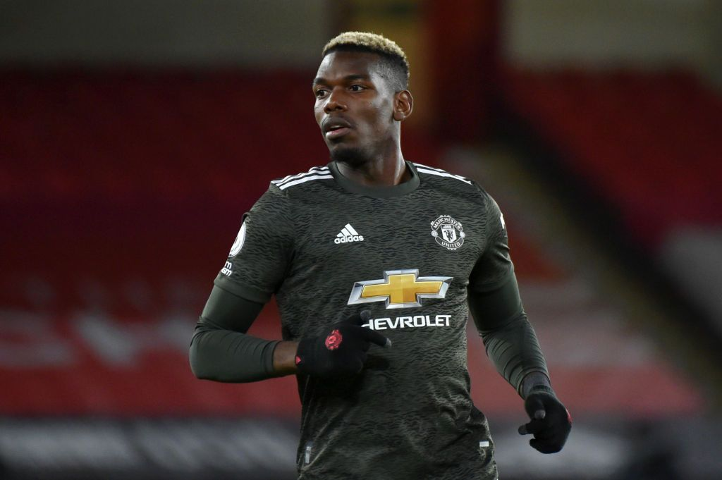 SHEFFIELD, ENGLAND - DECEMBER 17: Paul Pogba of Manchester United runs on during the Premier League match between Sheffield United and Manchester United at Bramall Lane on December 17, 2020 in Sheffield, England. The match will be played without fans, behind closed doors as a Covid-19 precaution.  (Photo by Rui Vieira - Pool/Getty Images)