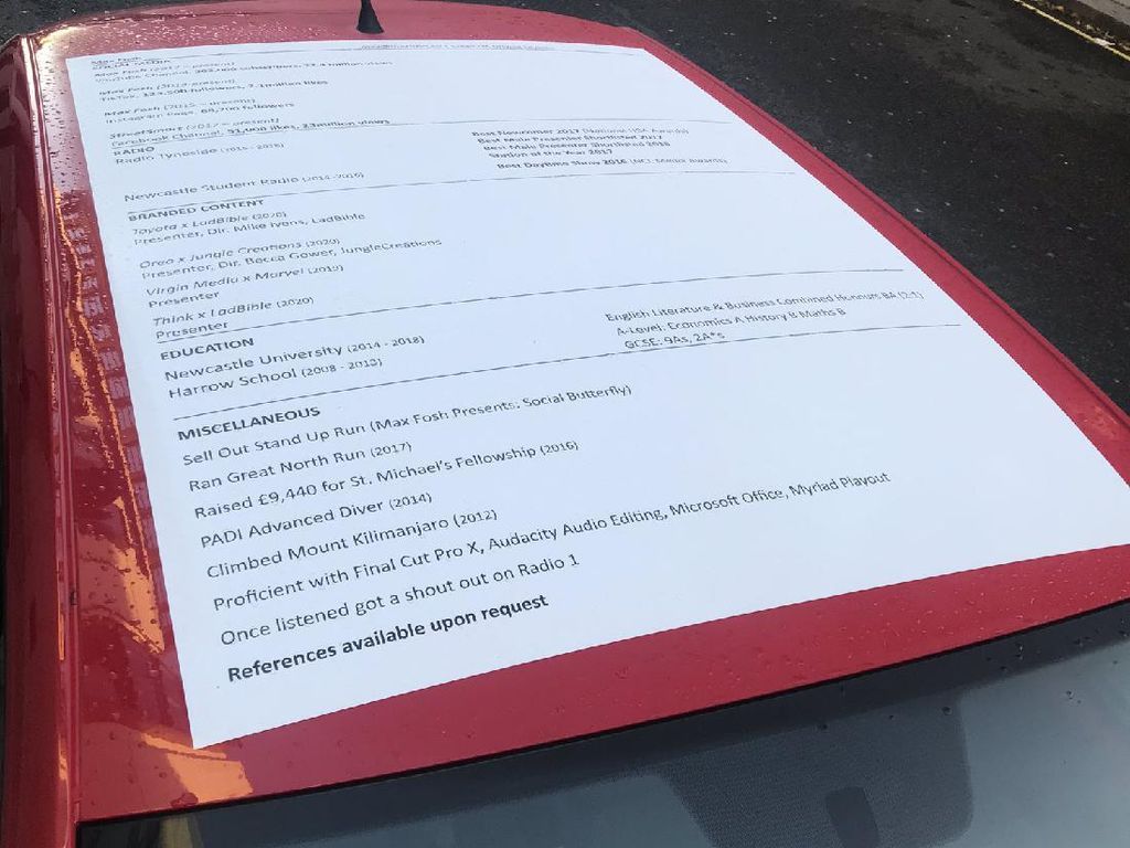 Pasang CV di Atap Mobil, Pria Ini Sukses Menarik Perhatian Calon Bos