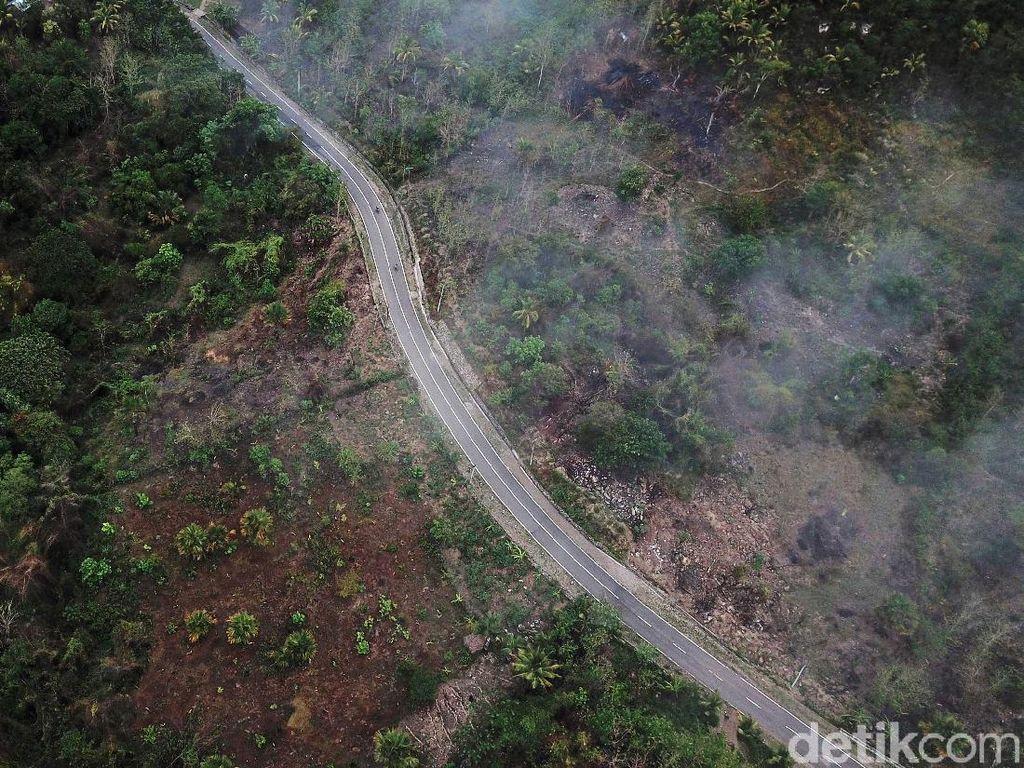 Potret Jalan Sabuk Merah di Perbatasan RI-Timor Leste dari Ketinggian