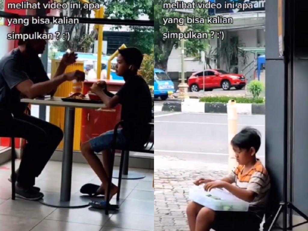 Nyesek! Pemandangan 2 Bocah Asyik Makan dan Jualan Makanan di Resto