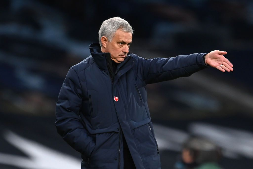 LONDON, ENGLAND - DECEMBER 20: Jose Mourinho, Manager of Tottenham Hotspur gives their team instructions during the Premier League match between Tottenham Hotspur and Leicester City at Tottenham Hotspur Stadium on December 20, 2020 in London, England. The match will be played without fans, behind closed doors as a Covid-19 precaution. (Photo by Andy Rain - Pool/Getty Images)