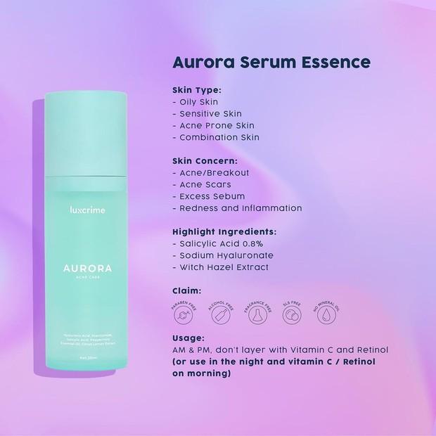 Luxcrime Aurora Serum Essence hadir dalam kemasan berwarna biru/instagram.com/luxcrime_id