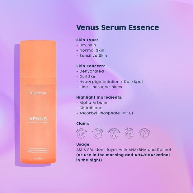 Luxcrime Venus Serum Essence hdari dengan kemasan berwarna oranye/instagram.com/luxcrime_id