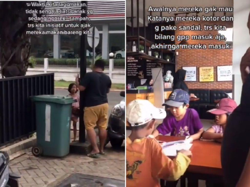 Mulia! Pria Ini Traktir Makan Tiga Bocah Pemulung yang Sibuk Ngorek Sampah