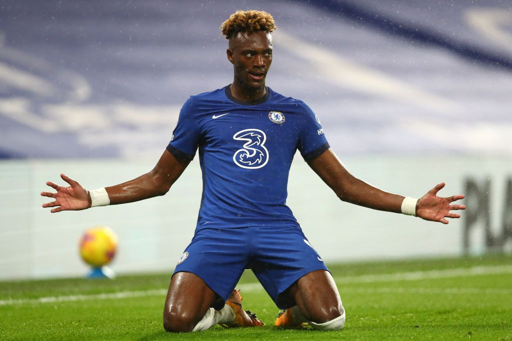 LONDON, ENGLAND - DECEMBER 21: Tammy Abraham of Chelsea celebrates after scoring their team's second goal during the Premier League match between Chelsea and West Ham United at Stamford Bridge on December 21, 2020 in London, England. The match will be played without fans, behind closed doors as a Covid-19 precaution. (Photo by Clive Rose/Getty Images)