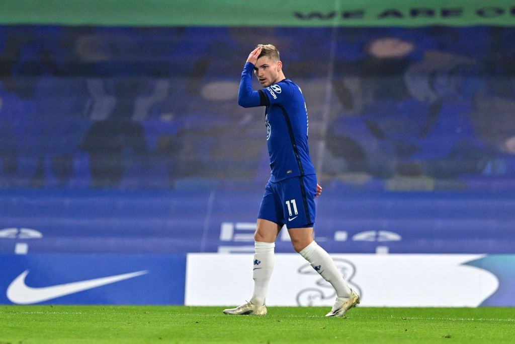 LONDON, ENGLAND - NOVEMBER 29: Timo Werner of Chelsea reacts after having a goal disallowed for offside during the Premier League match between Chelsea and Tottenham Hotspur at Stamford Bridge on November 29, 2020 in London, England. Sporting stadiums around the UK remain under strict restrictions due to the Coronavirus Pandemic as Government social distancing laws prohibit fans inside venues resulting in games being played behind closed doors. (Photo by Justin Tallis -
