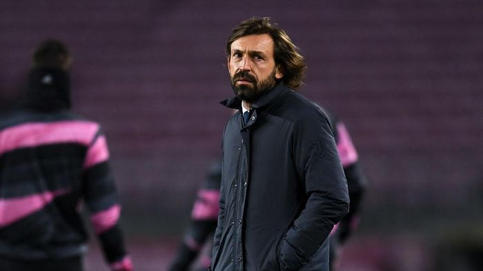 BARCELONA, SPAIN - DECEMBER 08: Head coach Andre Pirlo of Juventus looks on during the warm up prior to the UEFA Champions League Group G stage match between FC Barcelona and Juventus at Camp Nou on December 08, 2020 in Barcelona, Spain. Sporting stadiums around Spain remain under strict restrictions due to the Coronavirus Pandemic as Government social distancing laws prohibit fans inside venues resulting in games being played behind closed doors. (Photo by David Ramos/Getty Images)