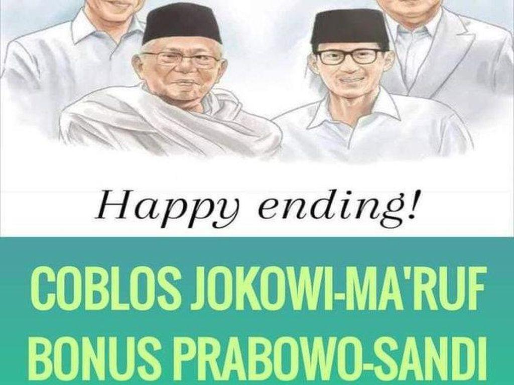 Viral Meme Happy Ending Jokowi-Maruf dan Prabowo-Sandi