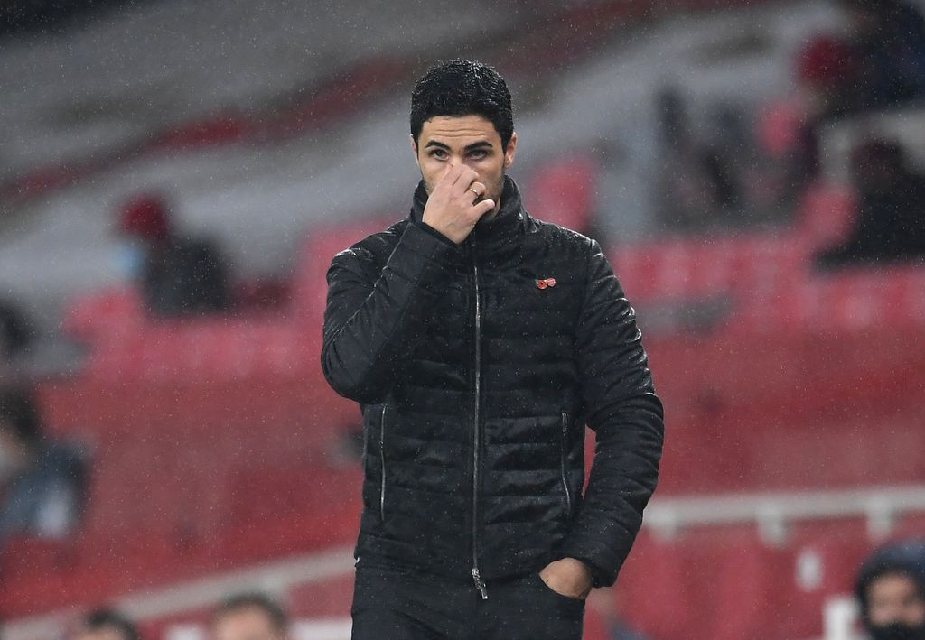 LONDON, ENGLAND - NOVEMBER 08: Mikel Arteta, Manager of Arsenal reacts during the Premier League match between Arsenal and Aston Villa at Emirates Stadium on November 08, 2020 in London, England. Sporting stadiums around the UK remain under strict restrictions due to the Coronavirus Pandemic as Government social distancing laws prohibit fans inside venues resulting in games being played behind closed doors. (Photo by Andy Rain - Pool/Getty Images)
