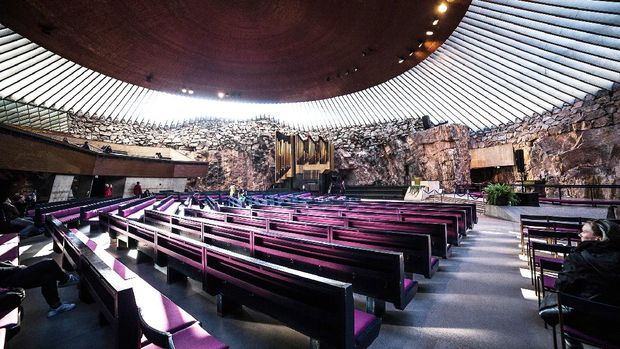 Helsinki, Finland - October 3, 2016: Temppeliaukio Church, Interior of Temppeliaukio Church. The interior was excavated and built directly out of solid rock.