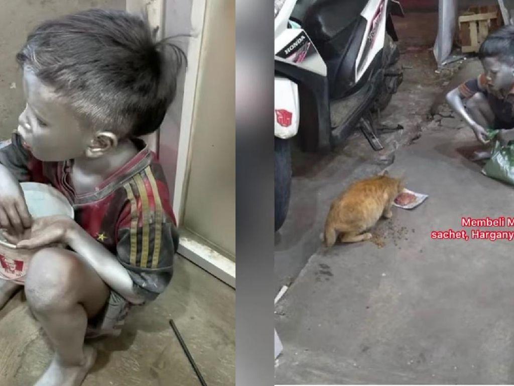 Bocah Silver Ini Menahan Lapar Demi Beri Makan Kucing Jalanan