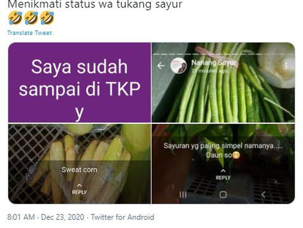 Eksis! Status WhatsApp Tukang Sayur Ini Bikin Pelanggan Terhibur