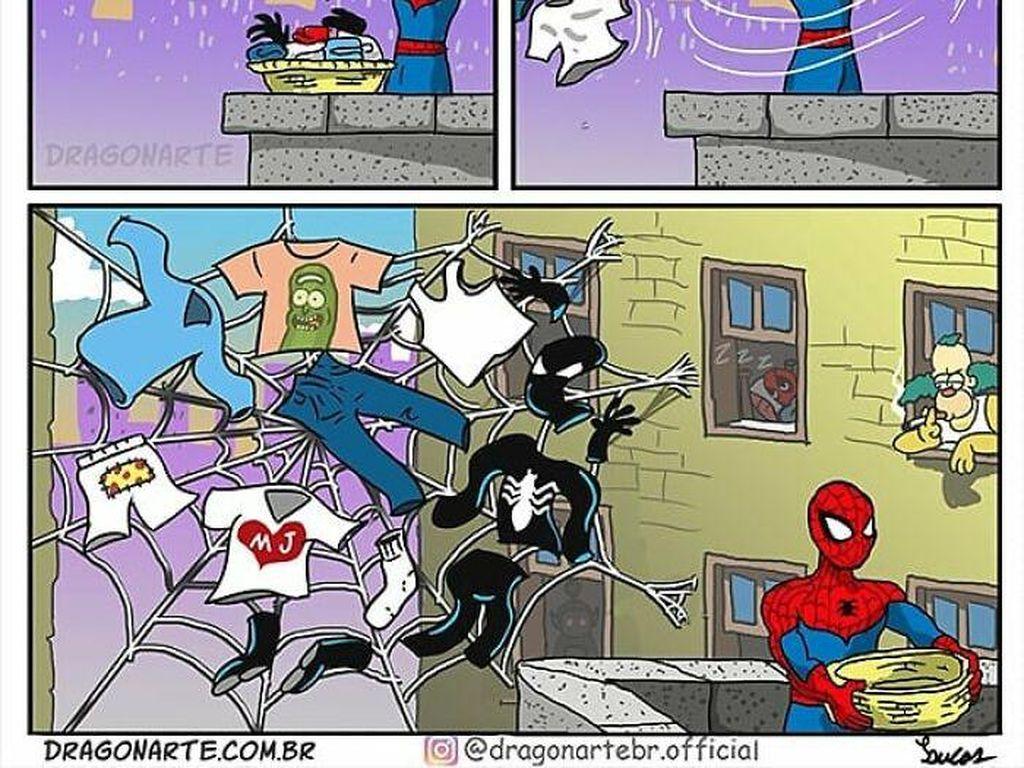 Kocak! Seniman Ini Bayangkan Kegiatan Superhero Saat Sedang Libur