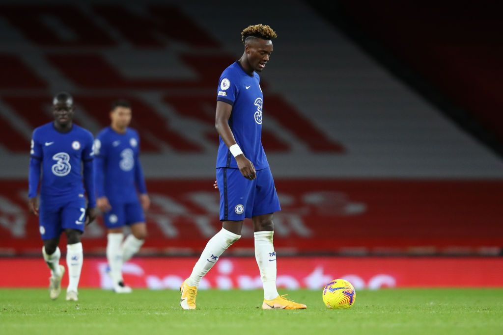 LONDON, ENGLAND - DECEMBER 26: Tammy Abraham of Chelsea looks dejected after his team concede during the Premier League match between Arsenal and Chelsea at Emirates Stadium on December 26, 2020 in London, England. The match will be played without fans, behind closed doors as a Covid-19 precaution. (Photo by Julian Finney/Getty Images)