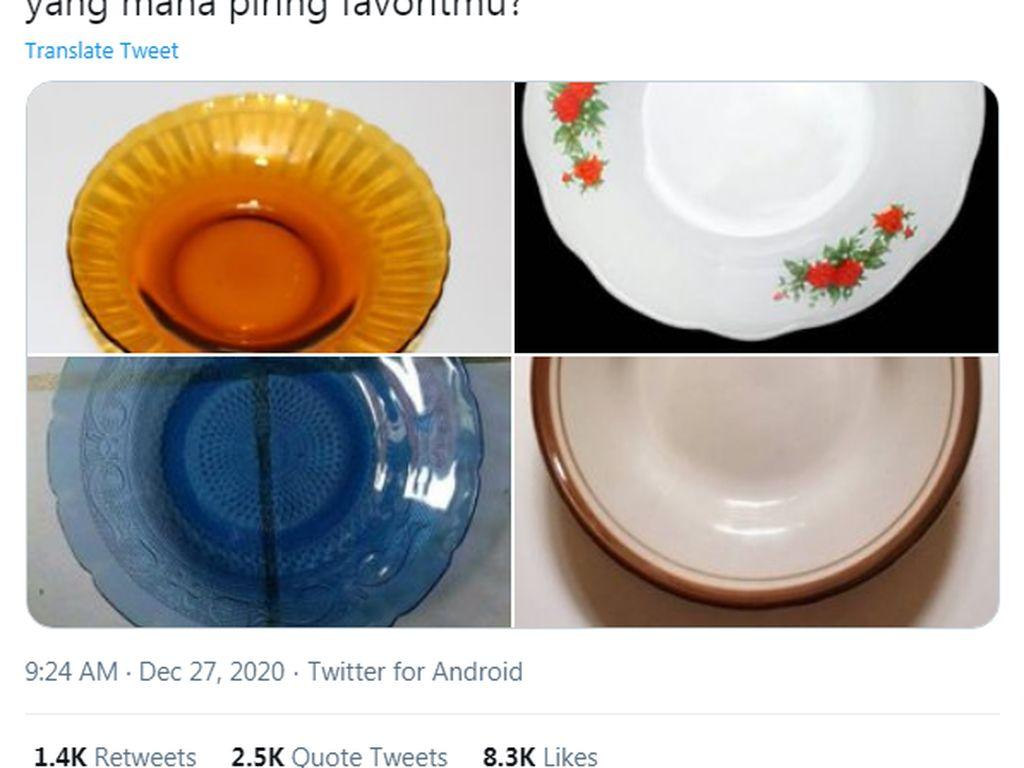Disebut Motif Piring Orang Miskin, Netizen Pamer Piring di Twitter