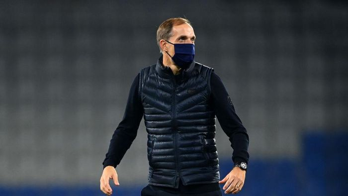 ISTANBUL, TURKEY - OCTOBER 28: Thomas Tuchel, Head Coach of Paris Saint-Germain reacts following the UEFA Champions League Group H stage match between Istanbul Basaksehir and Paris Saint-Germain at Basaksehir Fatih Terim Stadyumu on October 28, 2020 in Istanbul, Turkey. Sporting stadiums around Turkey remain under strict restrictions due to the Coronavirus Pandemic as Government social distancing laws prohibit fans inside venues resulting in games being played behind closed doors. (Photo by Ozan Kose - Pool/Getty Images)