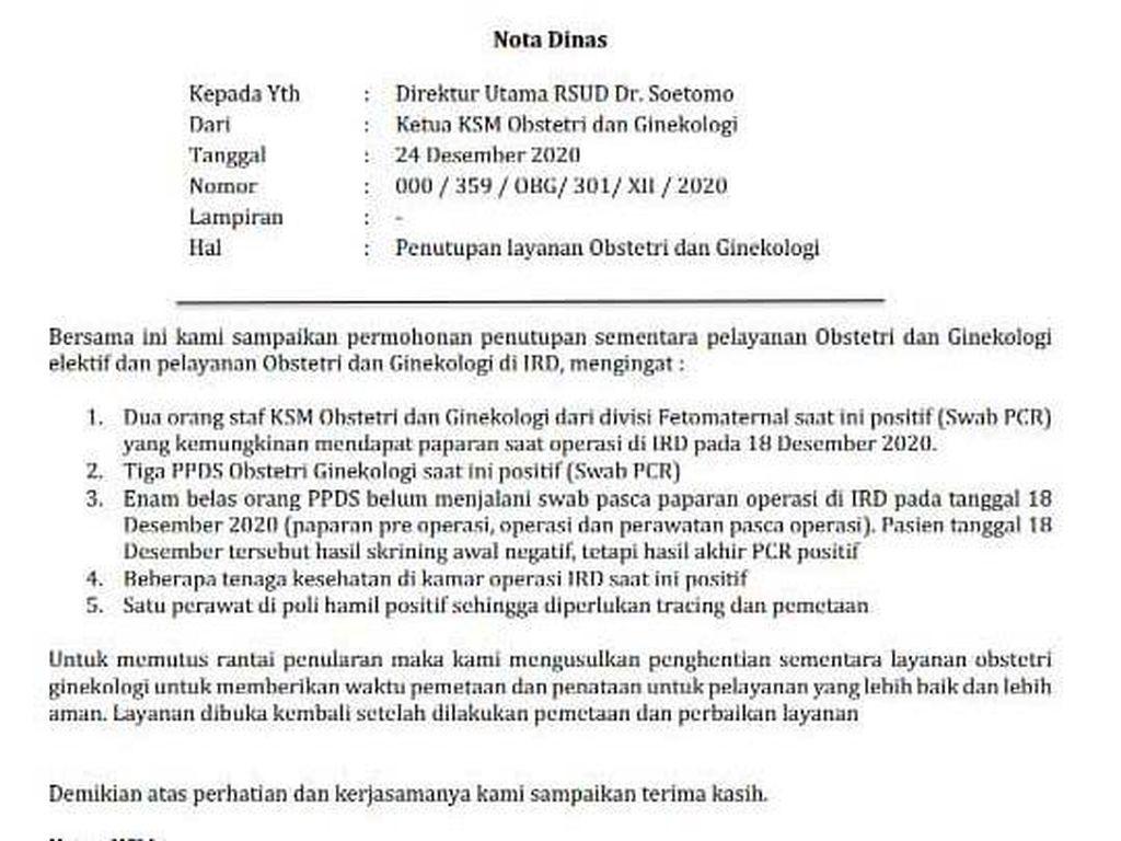 Beredar Surat Layanan Rawat Darurat RSU Soetomo Surabaya Lockdown, Ini Faktanya