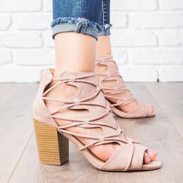 peep toe lace heels