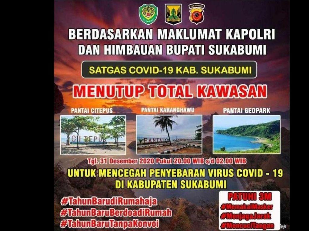 Malam Tahun Baru, Kawasan Wisata di Sukabumi Ditutup Total