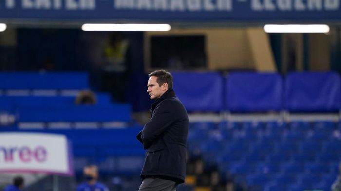 LONDON, ENGLAND - DECEMBER 28: Frank Lampard, Manager of Chelsea looks on ahead of the Premier League match between Chelsea and Aston Villa at Stamford Bridge on December 28, 2020 in London, England. The match will be played without fans, behind closed doors as a Covid-19 precaution. (Photo by John Walton - Pool/Getty Images)